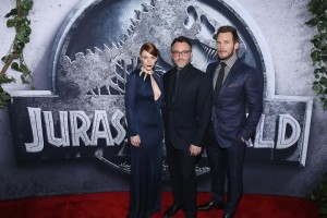 HOLLYWOOD, CA - JUNE 09:  (L-R) Actress Bryce Dallas Howard, Writer/Director Colin Trevorrow and Chris Pratt pose at the Jurassic World premiere sponsored by Samsung at Dolby Theatre on June 9, 2015 in Hollywood, California.  (Photo by Jonathan Leibson/Getty Images for Samsung)